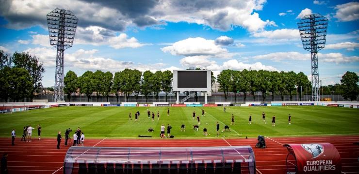 Foto: Valstsvienības treniņš pirms spēles pret Slovēniju