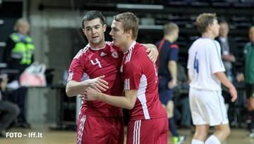Baltijas Kauss: Latvijas telpu futbola izlase pārspēj Igauniju un svētdien tiksies ar Lietuvu