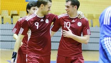 Latvijas telpu futbola izlase pārbaudes spēlē Rīgā cīnās neizšķirti ar Baltkrieviju