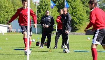 Latvijas un Maltas U-21 izlase aizvadījušas oficiālos pirmsspēles treniņus Liepājā