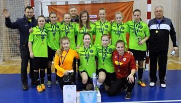 Rēzeknes BJSS/novada BJSS - pirmās 2015. gada meiteņu telpu futbola čempiones