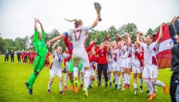 Ieva Krasnova gūst hat-trick, Latvijas WU-19 izlase atkārtoti kāpj Baltijas kausa tronī