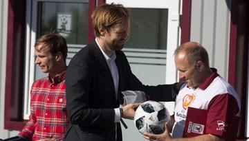 Kaspars Gorkšs piedalās FK Jelgava treniņu bāzes atklāšanā