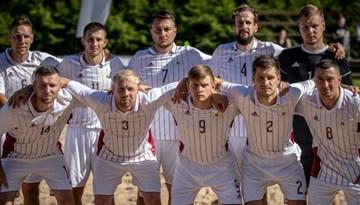 Latvijas pludmales futbola izlasei uzvara pār Somiju