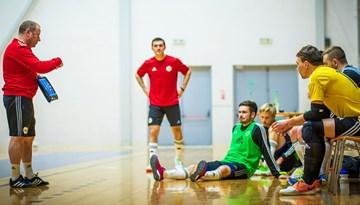 Foto: Latvijas telpu futbola izlase gatavojas mačiem ar Slovēniju un Šveici