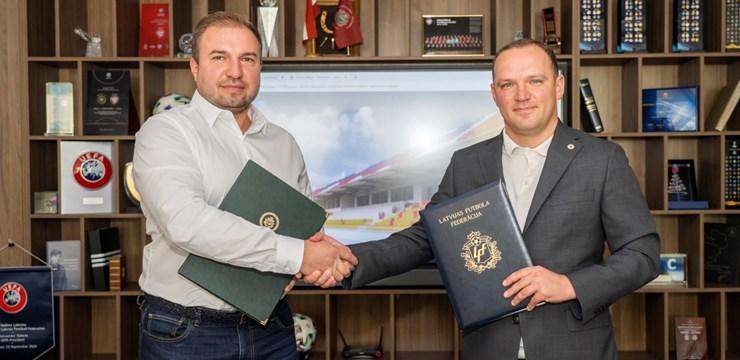 """Noslēgts līgums ar SIA """"Juminiks Ltd"""" par """"Daugavas"""" stadiona jumta būvniecību"""